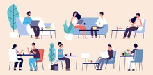 People Eating. Women Men Relax With Food. Flat Vector People In Restaurant, Cafe, Food Court. Restaurant With People Sit At Table Illustration