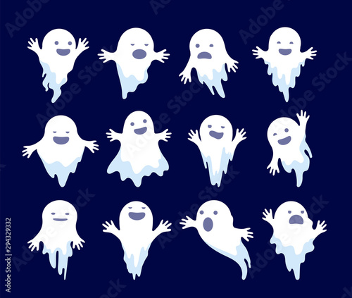 Obraz Ghost. Halloween spooky phantom, scary spirits. Mystery dead monsters cartoon vector ghostly characters. Illustration ghost holiday, white ghostly mystery illustration - fototapety do salonu