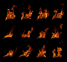 Fire Flames In Black Background