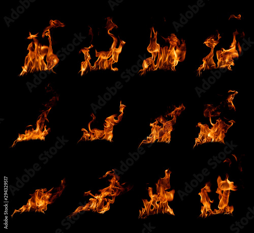 Papiers peints Feu, Flamme fire flames in black background