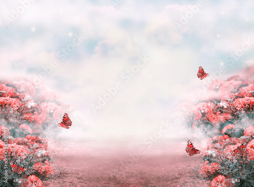 fantasy-summer-photo-background-with-roses-flowers-field-butterflies-and-misty-path-leading-to-fairytale-glade-idyllic-tranquil-morning-scene-road-goes-across-hills-empty-copy-space