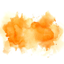 Brush Color Orange Watercolor Abstract Background On Paper.