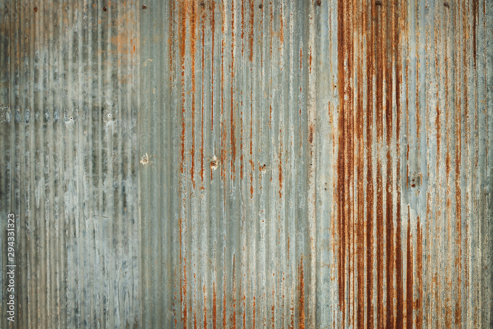 Fototapety, obrazy: Old zinc wall texture background, rusty on galvanized metal panel sheeting.