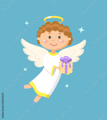 Photo Angel holding gift box with ribbon, portrait view of flying angelic character in white clothes, kid with wings and nimbus, holiday papercard
