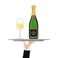 Champagne Bottle With Wine Gla...