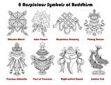 Design set with eight auspicious symbols of Buddhism isolated on white.