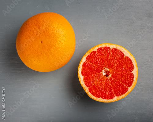 Top view fresh half cut grapefruit