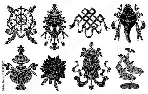 Fotografia  Design set with eight black silhouettes of auspicious symbols of Buddhism isolated on white