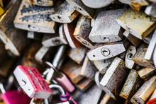 Lot Of Love Locks. Many Old Pa...