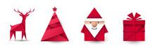Święty Mikołaj, Renifer, Choinka I Prezent Origami. Zestaw Przedmiotów Wektor