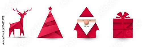 Obraz Święty Mikołaj, renifer, choinka i prezent origami. Zestaw przedmiotów wektor - fototapety do salonu