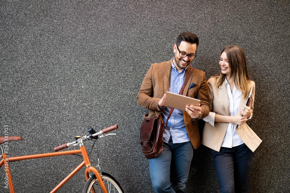 Fototapeta Business team digital device technology connecting concept