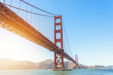 Beautiful view of iconic Golden Gate Bridge in San Francisco at sunlight.