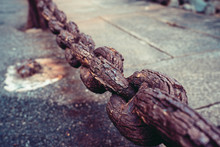 Close Up Of An Old Rusty Chain.