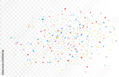 Obraz Confetti background vector isolated. Colorful bright confetti pieces. Holiday festive background - fototapety do salonu