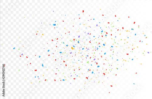 Fototapeta Confetti background vector isolated. Colorful bright confetti pieces. Holiday festive background obraz na płótnie