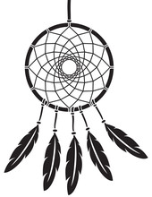 Native American Indian Talisman Dreamcatcher Vector Illustration