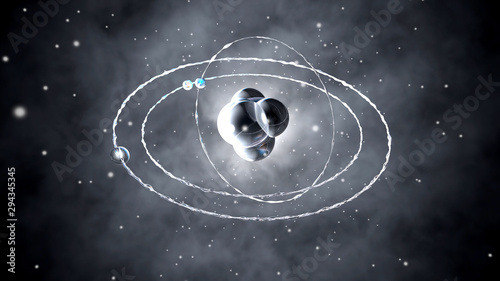 Atom core with orbiting particles Canvas Print