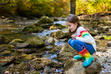Outdoor Recreation And Awesome Adventures With Kids. A Little Child Girl Is Walking Along A Green River In The Forest In Rubber Boots On A Warm Autumn Day.  Exploring Nature, Travel, Family Vacation.