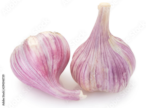 obraz lub plakat Fresh garlic on white background