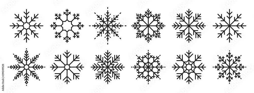 Fototapeta Snowflakes big set icons. Flake crystal silhouette collection. Happy new year, xmas, christmas. Snow, holiday, cold weather, frost. Winter design elements. Vector illustration.