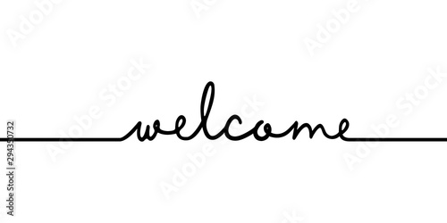 Welcome - continuous one black line with word Fototapet