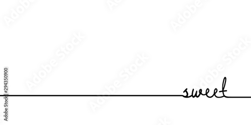 Sweet - continuous one black line with word Tablou Canvas