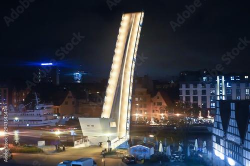 Gdansk, Poland - September 2019: Drawbridge over the water channel. Drawbridge at night.