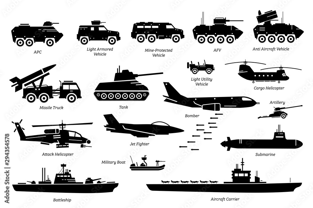 Fototapeta Military combat vehicles, transportation, and machine icon set. Artwork depicts army armored vehicle, tank, missile truck, bomber, attack helicopter, jet fighter, warship, boat, ship, and submarine.