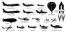 List Of Different Airplane, Aircraft, Aeroplane, Plane And Aviation Icons. Artwork Show Airliner, Jet, Light Aircraft, Cargo Plane, Airship, Helicopter, Space Rocket, Biplane, Monoplane, And Seaplane.
