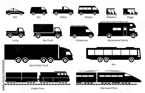 Fotografie, Tablou  List of commercial landed vehicles transportation icons