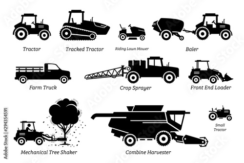 Fototapeta List of agriculture farming vehicles, tractors, trucks, and machines. Illustrations depict tractor, lawn mower, baler, farm truck, crop sprayer, front end loader, tree shaker, and combine harvester. obraz