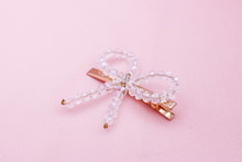 Luxury Hair Clip On Pink Fabri...