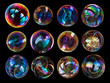 canvas print picture - Group of soap bubbles isolated on black background.