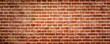 Leinwanddruck Bild - Red brick wall or masonryr, wide panorama or banner texture.