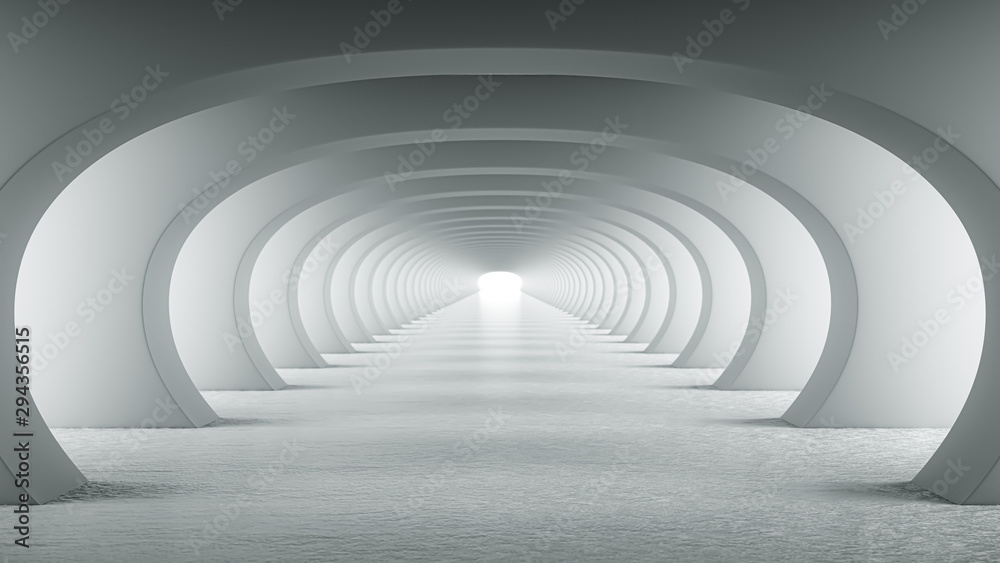Fototapeta Abstract illuminated empty white corridor with round arches, bright light and shadows. Concept for art, interior design and futuristic background 3D rendering. Clean indoor architectural illustration