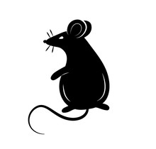 Black Silhouette Of A Rat Or M...