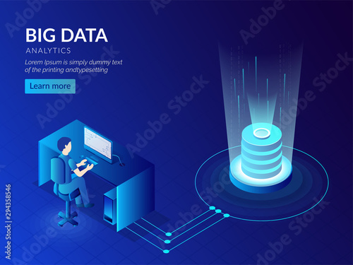 Big Data storage technology based isometric design with glowing database or server and analyst analysis the data Canvas Print