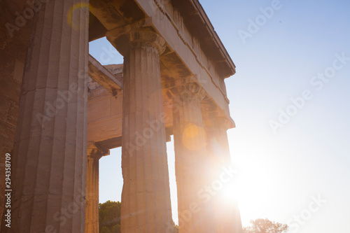 Sunset view of temple of Hephaestus in Ancient Agora, Athens, Greece Wallpaper Mural