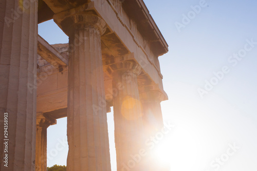 Sunset view of temple of Hephaestus in Ancient Agora, Athens, Greece Canvas Print