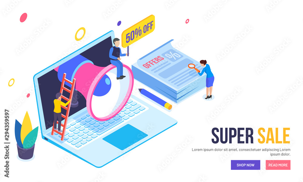 Fototapeta Isometric laptop with megaphone for advertisement, lady buyer searching best discount offers or deal, Super Sale web template or hero banner design.