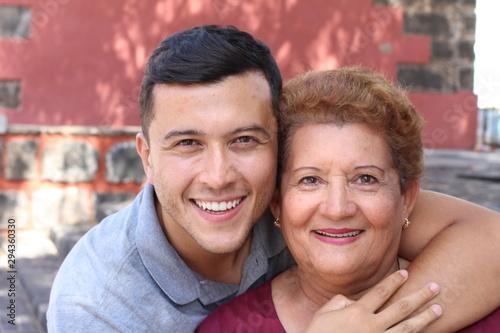 Poster Ecole de Danse Hispanic senior woman with her son