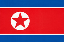 North Korea National Fabric Flag Textile Background. Symbol Of World Asian Country.