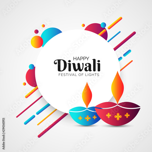 Fotografía  Indian festival of lights, Diwali celebration greeting card design with lit lamps and abstract elements decorated on white background
