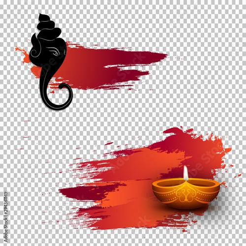 Hindu Mythological Lord Ganesha with Illuminated Oil Lamp (Diya) on png brush stroke effect. Can be used as greeting card design. Wall mural