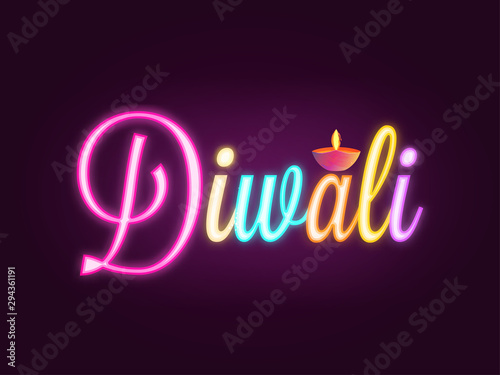 Colorful neon text Diwali on brown background with illuminated oil lamp (Diya) for Indian festival celebration concept.
