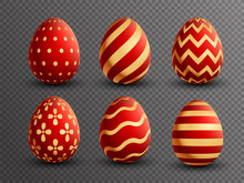 Set Of Various Design Of Painted Eggs In Red And Golden Color.