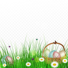 Realistic Easter Eggs In A Basket Hidden In Grass On Transparent Background.