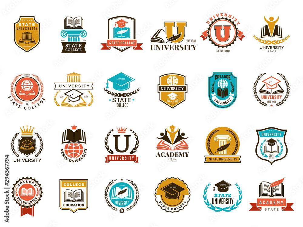 Fototapeta College emblem. School or university identity symbols badges and logo vector collection. College and school, university emblem illustration