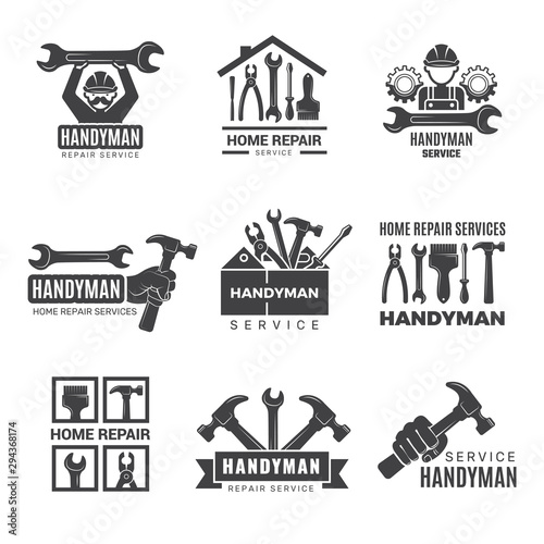 Obraz Handyman logo. Worker with equipment servicing badges screwdriver hand contractor man vector symbols. Equipment for repair and construction logo, service logotype toolbox illustration - fototapety do salonu